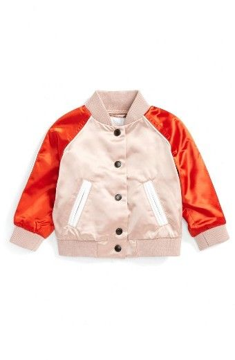 Infant Girl's Burberry Bartinstead Satin Bomber Jacket (affiliate ...