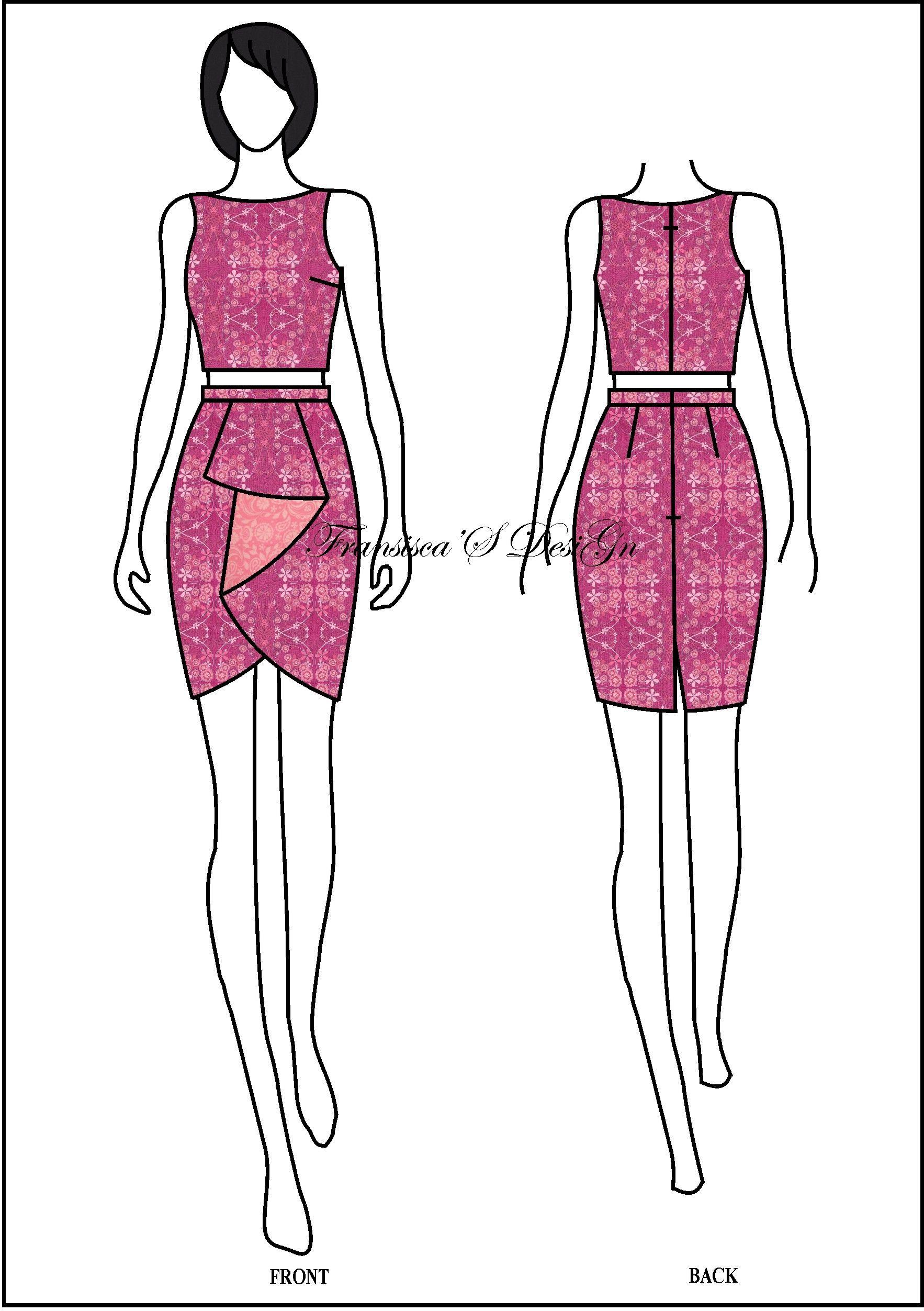 Crop Top & Skirt Span Kombinasi Lipit Dua Sisi