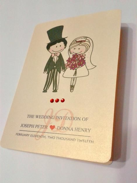 Cute Cartoon Couple Wedding Invitation Card Illustration