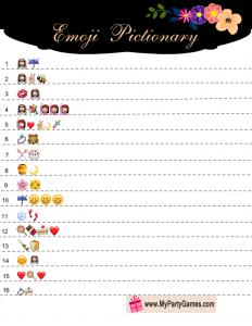 emoji pictionary bridal shower game
