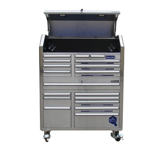 "kobalt 18-drawer stainless steel 53"" tool chest.... i stare at this ..."