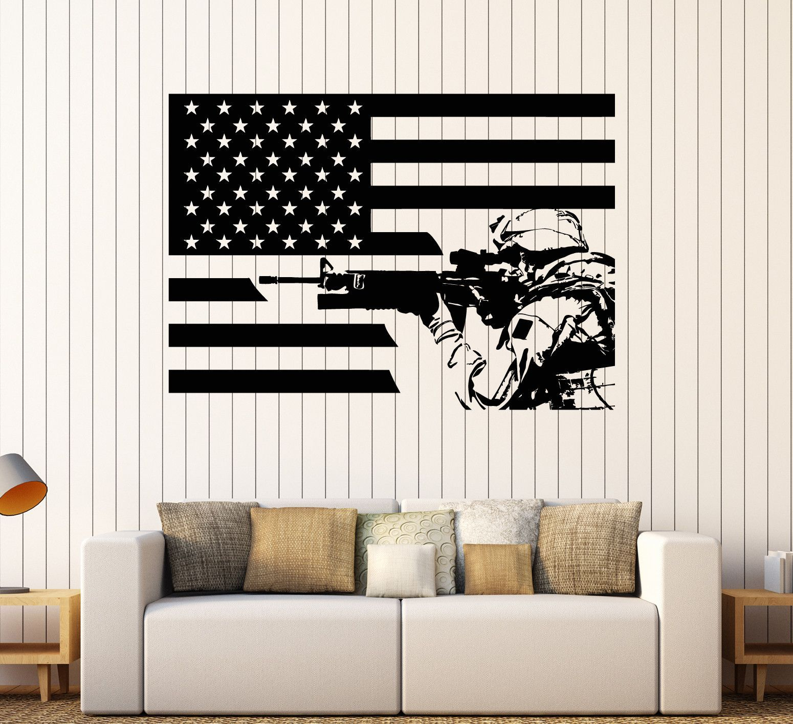 Vinyl Wall Decal American Soldier Flag Patriotic Decor Stickers (Ig4305)