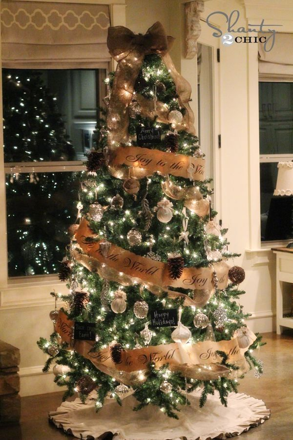 DIY Easy Christmas Tree Decorating with burlap ribbon! by loretta