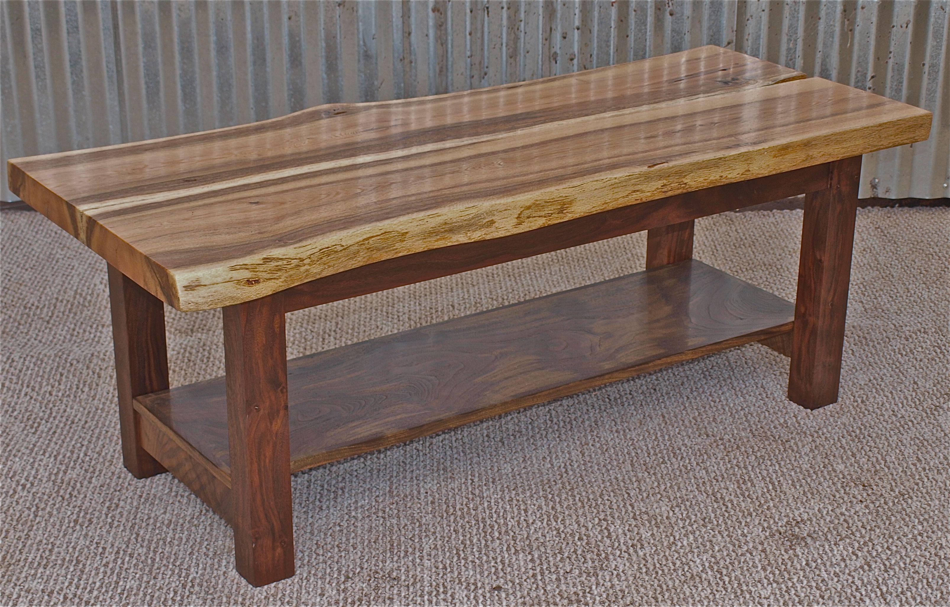 Black Walnut Coffee Table Live Edge Oak Coffee Table With Black Walnut Base Shelf 48 X 20