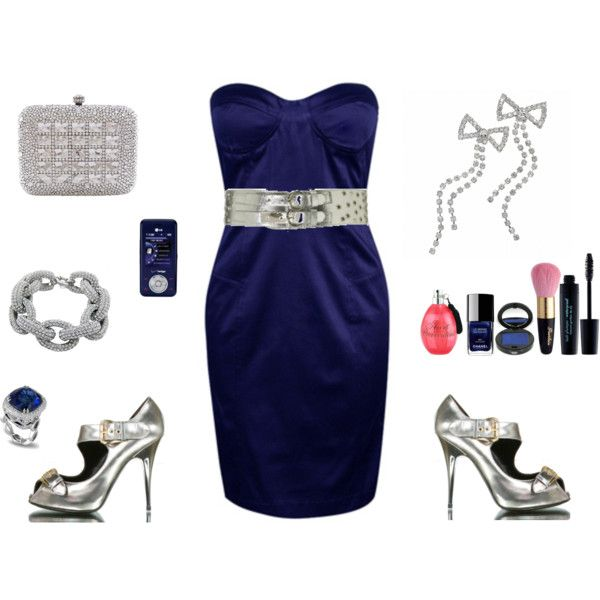 Navy blue dress and silver accessories on polyvore my for How to accessorize a navy blue dress for a wedding