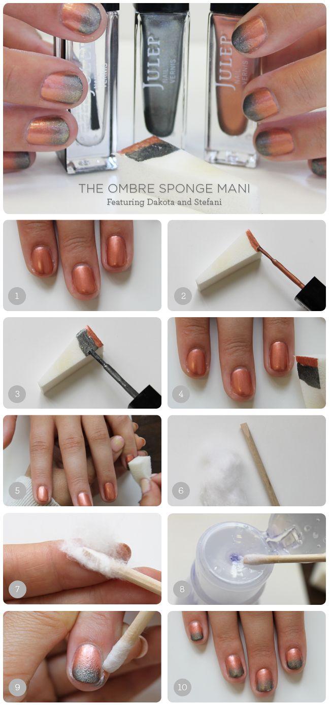 Diy nail tutorial ombre sponge mani featuring dakota u stefani