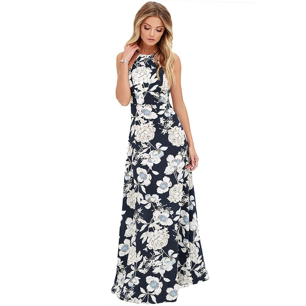 a7a85d75a06c9 Anself Vintage Floral Print Summer Long Maxi Dress Off Shoulder Sexy Women  Causal Dress Plus Size Beach Party Dresses Vestidos