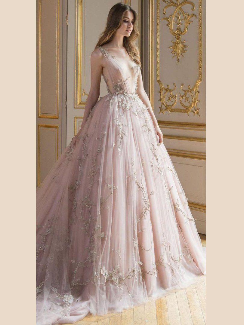 chic aline prom dresses v neck pink long prom dress evening