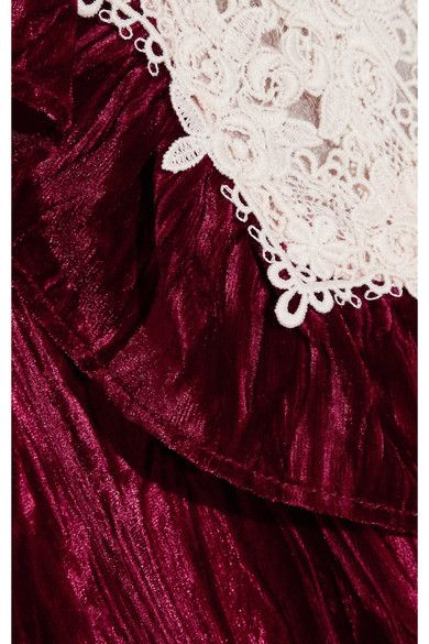 To The One I Love Lace-trimmed Crushed-velvet Mini Dress - Burgundy Anna Sui New And Fashion ffex3F
