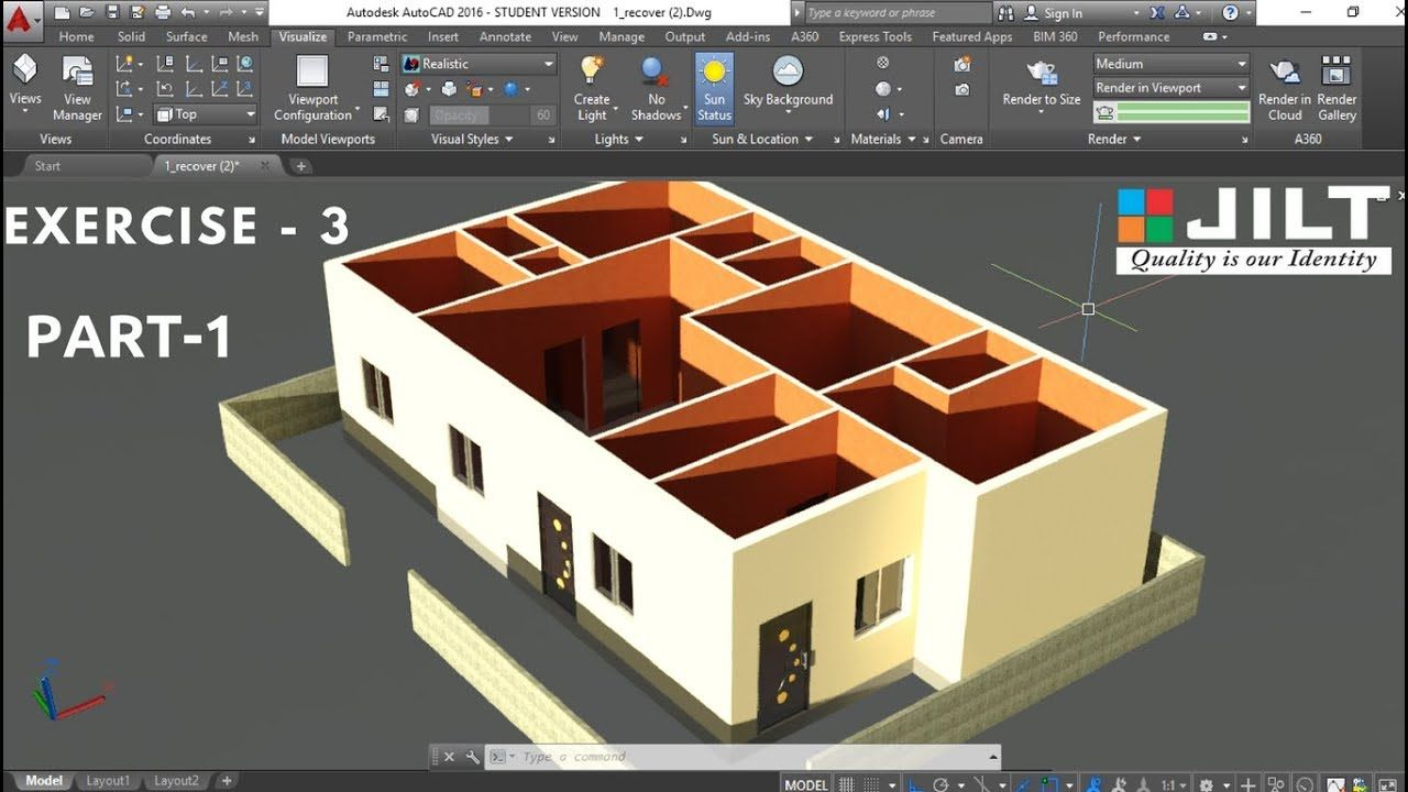 Create 3d House Using Autocad In Easy Steps Ex 3 Part 1 Model House Plan Free House Plans Autocad