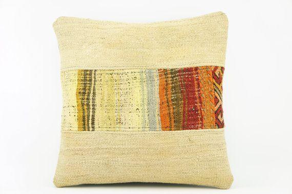 Cream Boho pillow cover, Decorative kilim pillow , Patchwork pillow case 2110 Cream Boho pillow