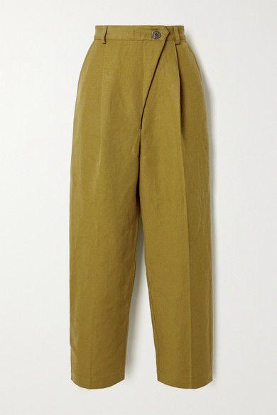 Mara Hoffman - Net Sustain Almeria Pleated Linen And Organic Cotton-blend Straight-leg Pants - Army green