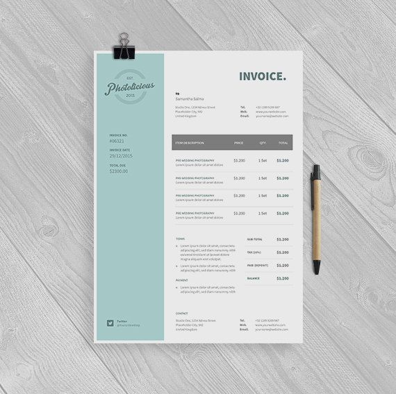 Professional Invoice Template Instant Download by papernoon - product receipt template
