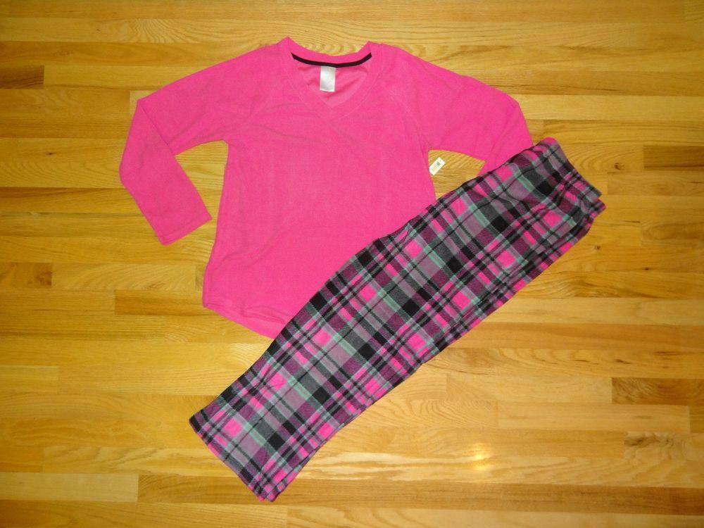 552a98235a0 New Womens Secret Treasures Pajama Set Pink Top Grey Plaid Fleece Pants S  4 6  fashion  clothing  shoes  accessories  womensclothing  intimatessleep  (ebay ...
