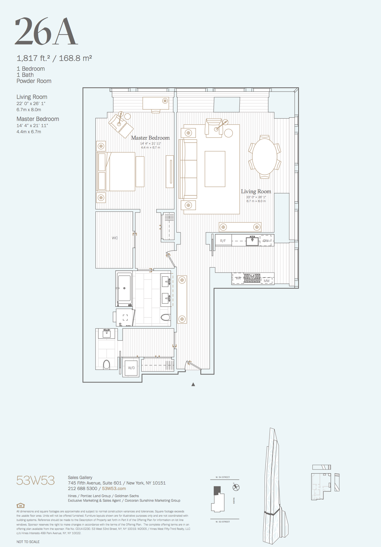 26a 1 Bedroom 1 5 Bathrooms 1 817 Sq Ft 168 8 Sq M View Of The City Open To North And Penthouse Apartment Floor Plan Floor Plans Bathroom Floor Plans