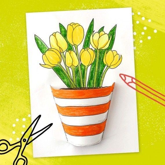 kleiner blumentopf pdf  malen  tulpen basteln kleine