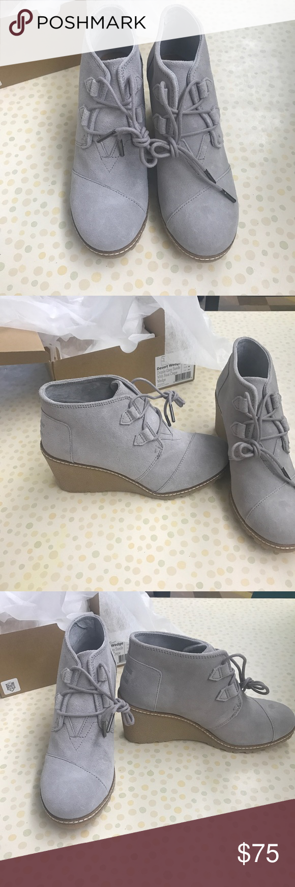 886218ff118 7.5 Tom s Desert Wedge Size 7.5 Tom s Desert Wedge Drizzle Grey w  Faux  Crepe Toms Shoes Wedges