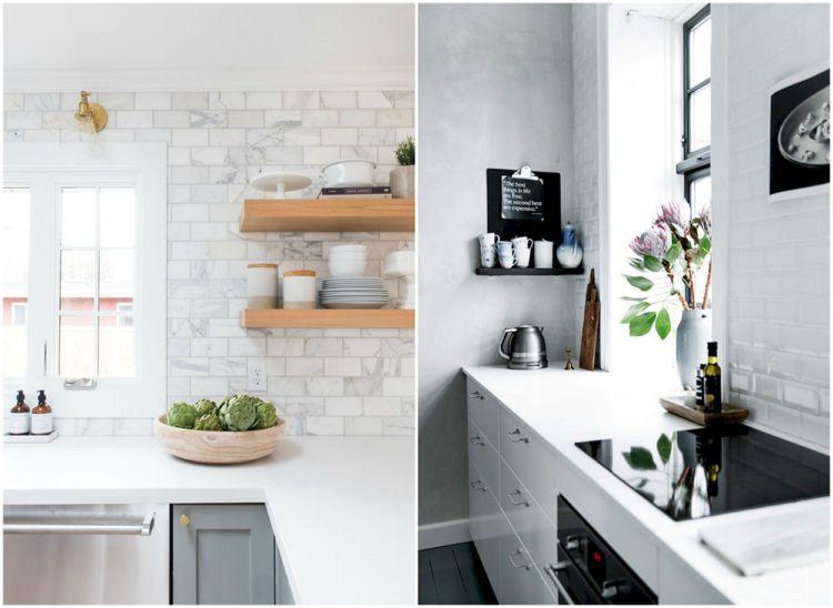 weiße Küche Metrofliesen Wand Sichtbeton Marmor Wohnideen Küche - wand laminat küche