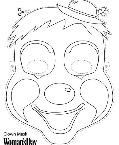 free color \ print face masks Parties Under the BIG TOP - free printable face masks