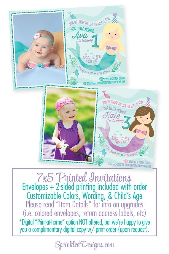 Mermaid Birthday Invitation Photo Invites Card Party