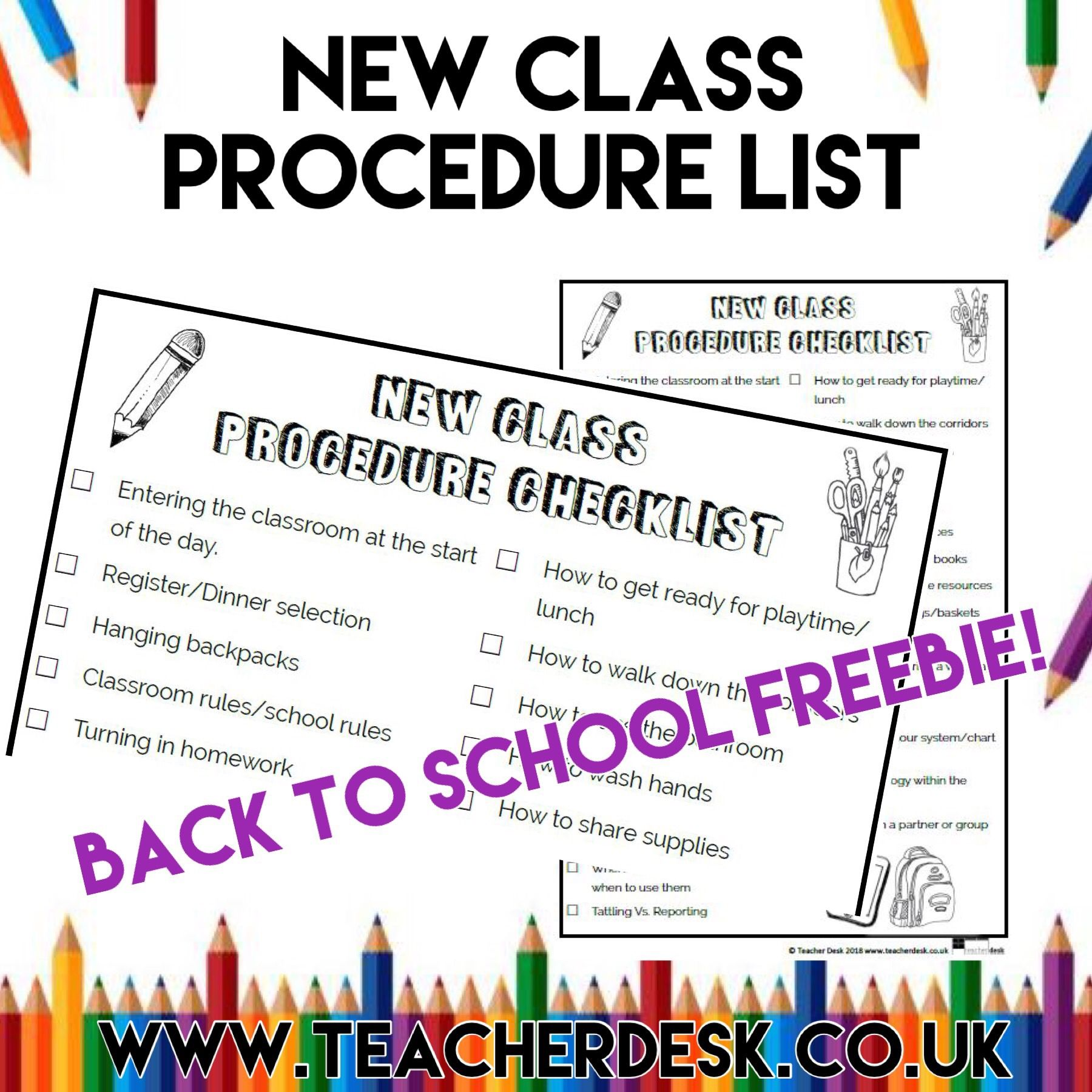 New Class Procedure List Teacher Desk Www Teacherdesk Co Uk New