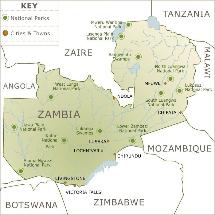 Zambia National Parks Map Zambia National Parks Map Zambia