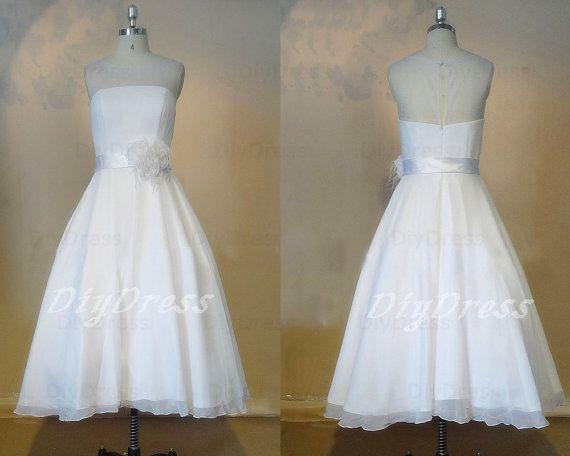 Princess Chiffon Strapless White Little Dresses,Short