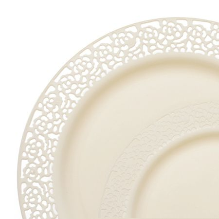Save on fancy lace ivory plastic plates dinnerware value set that look pretty real for holiday catering and discount weddings on a budget.  sc 1 st  Pinterest & 1258 Lace Ivory Plastic Dinnerware Value Sets | Pop-up | Pinterest ...