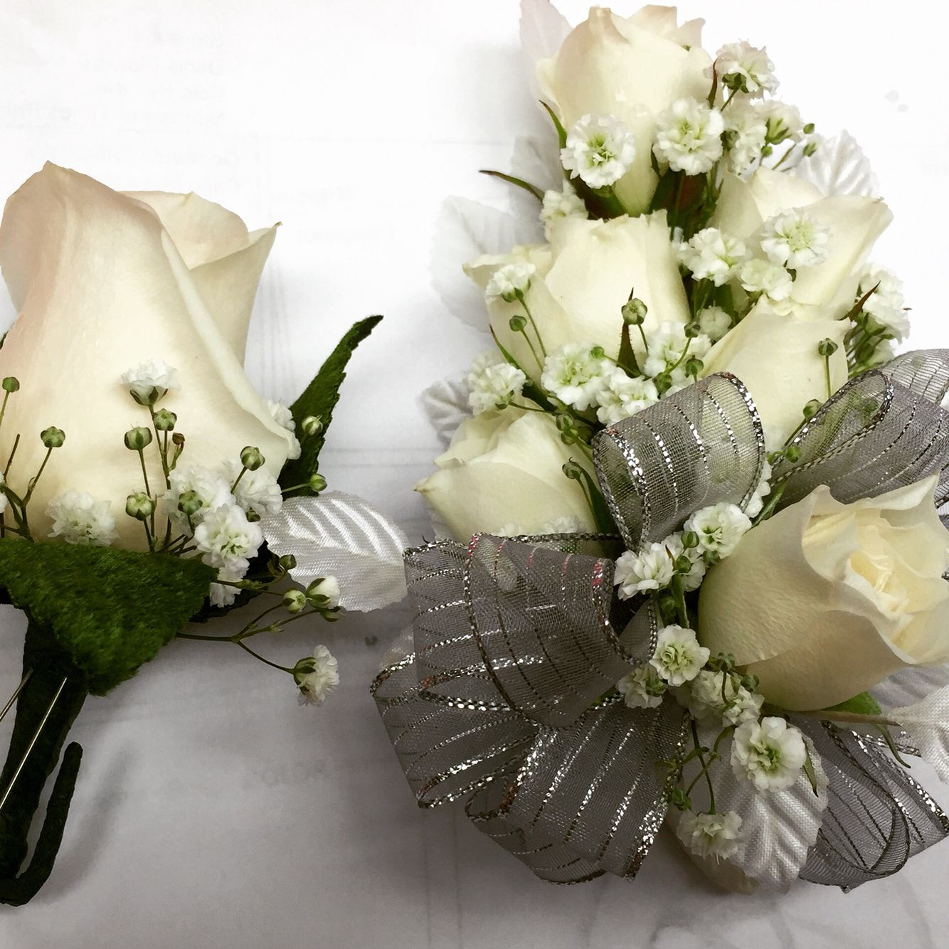 Simple Elegance White Tea Roses Corsage And Boutonnire Corsages