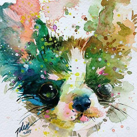 Chihuahua Original Painting By Tilen Ti Watercolour With Gouache