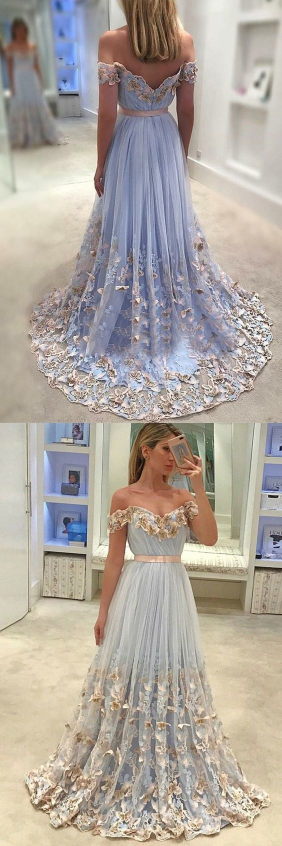 Baby blue prom party dresses with appliques fashion off shoulder
