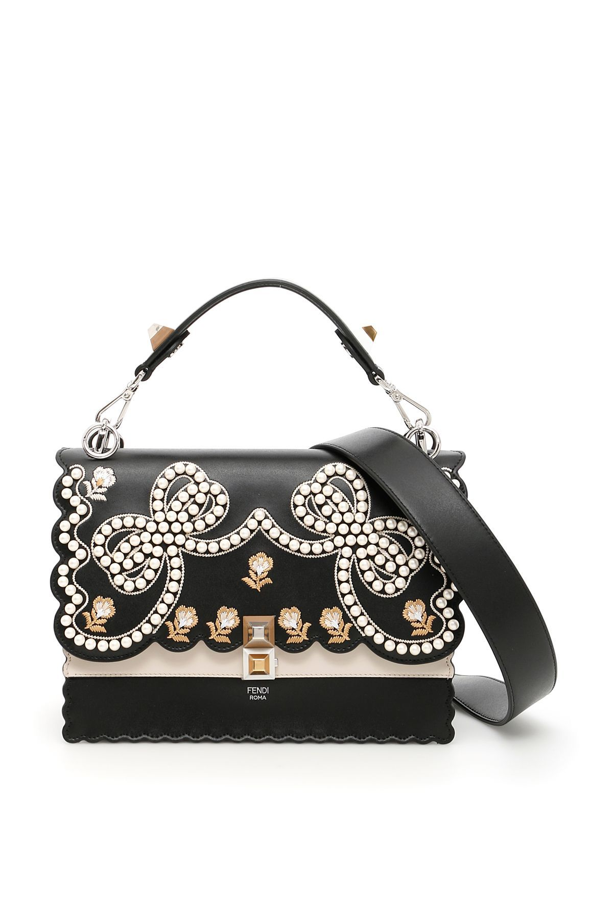 9ed0041e5a Fendi leather KAN I bag with scalloped hems and bicolor front. The flap  features embroidered flowers and pearls creating two bows. Two bicolor  plexi pyramid ...