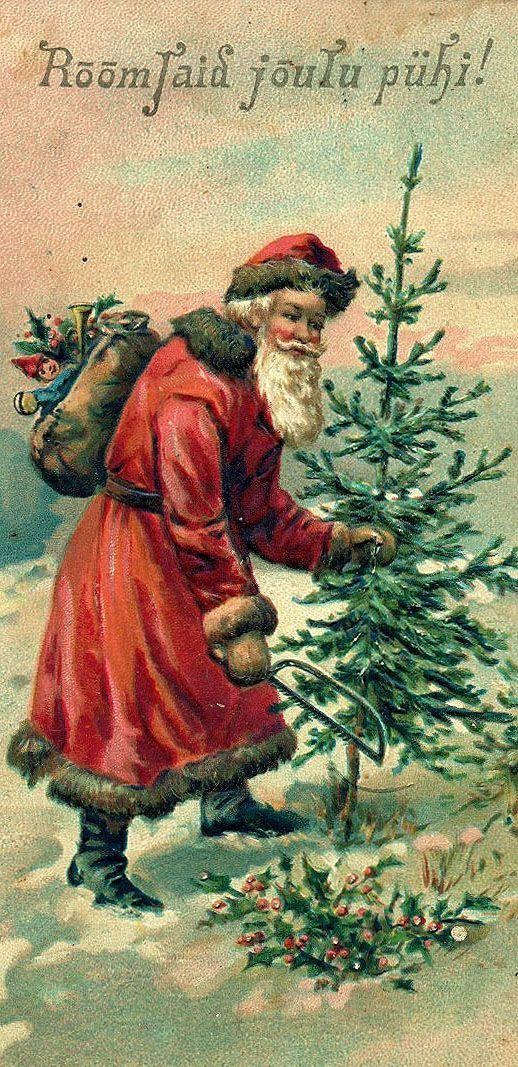 Vintage Santa cutting down a Christmas tree | I Believe in Santa ...