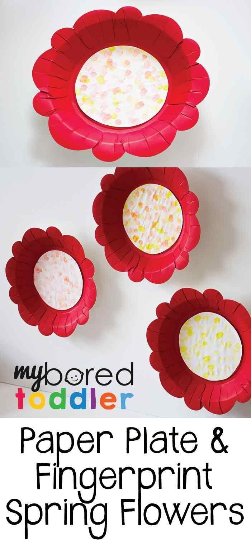 Paper Plate Fingerprint Flower Craft