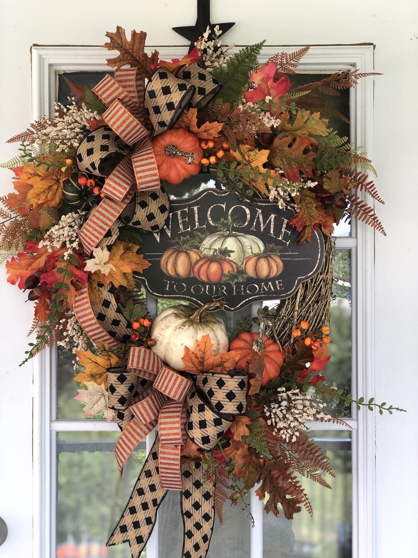 Photo of Fall Wreath for Front Door, Front Door Wreaths, Elegant Fall Wreath, Floral Fall Wreath, Pumpkin Wreath, Autumn Wreath, Fall Floral Decor
