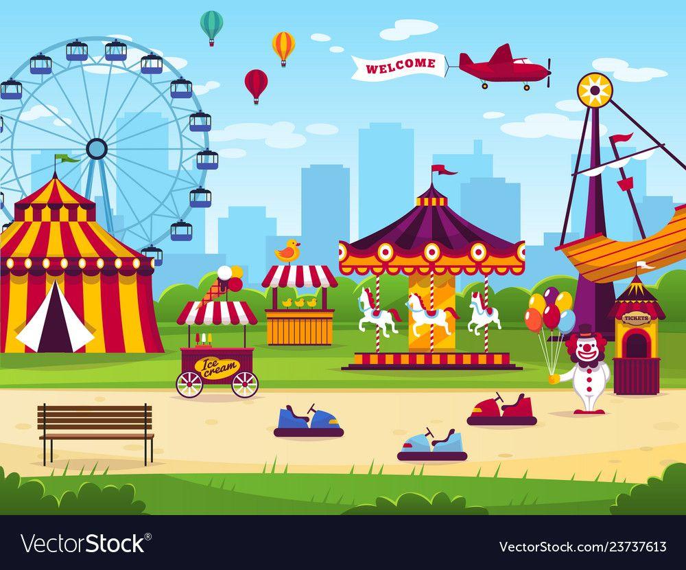 Amusement park attractions entertainment joyful vector