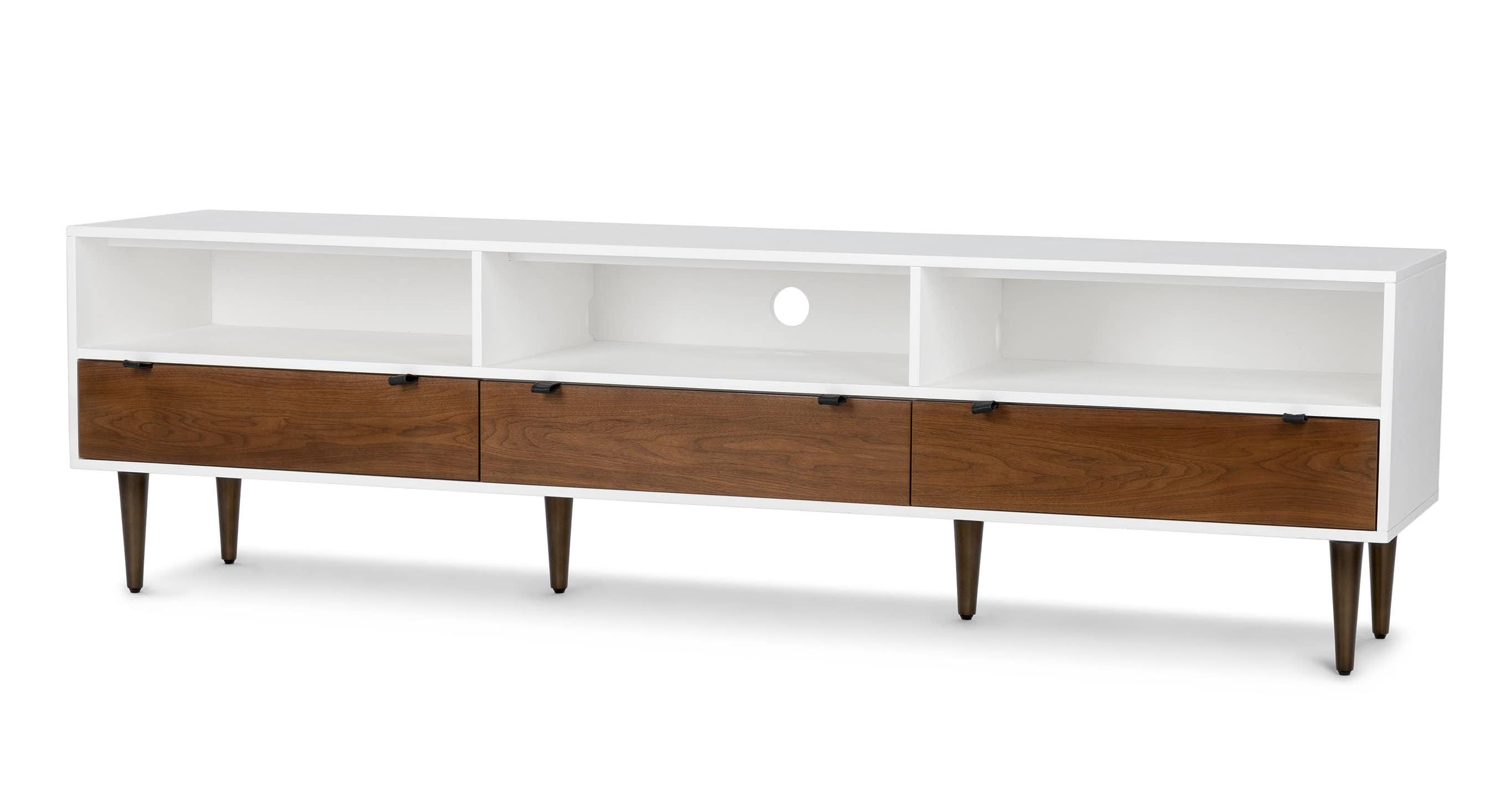 6da740698974d2 The Envelo media unit's walnut drawers are cased in brilliant matte white  lacquer, making it the centre of attention. Stash your board games or your  remote ...