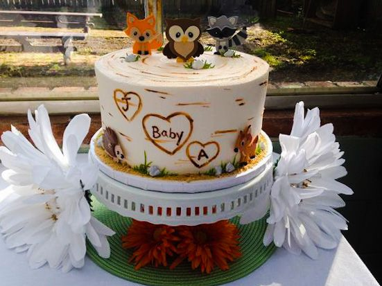 Woodland Birch Tree Cake | Oregon Dairy Bakery #600 tags: animal, forest, bark, owl, fox, baby, shower