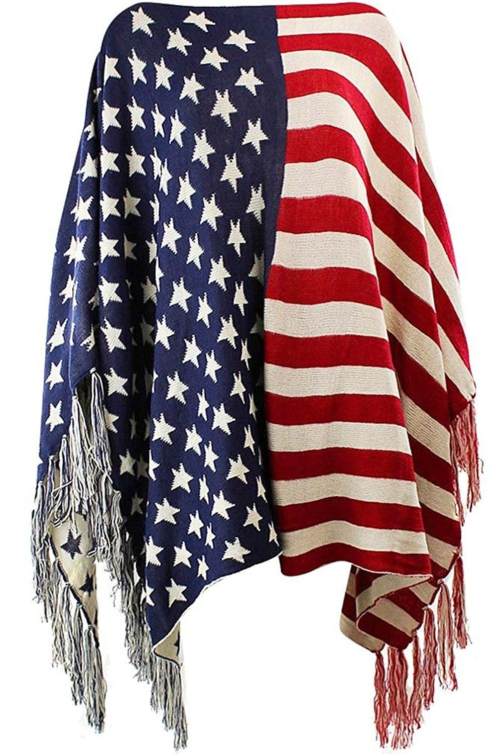 American Flag Print Knit Poncho With Fringe Ck12n7y6lbr Knitted Poncho American Flag Print American Flag Sweater