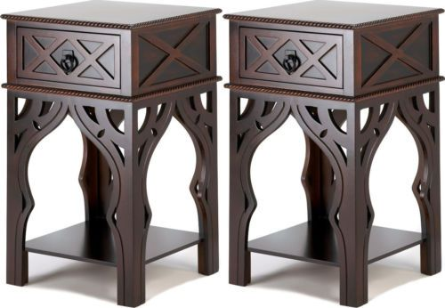 Nice Set Of 2 Moroccan Style Dark Wood Finish Side Nightstand End Table 17 6lbs