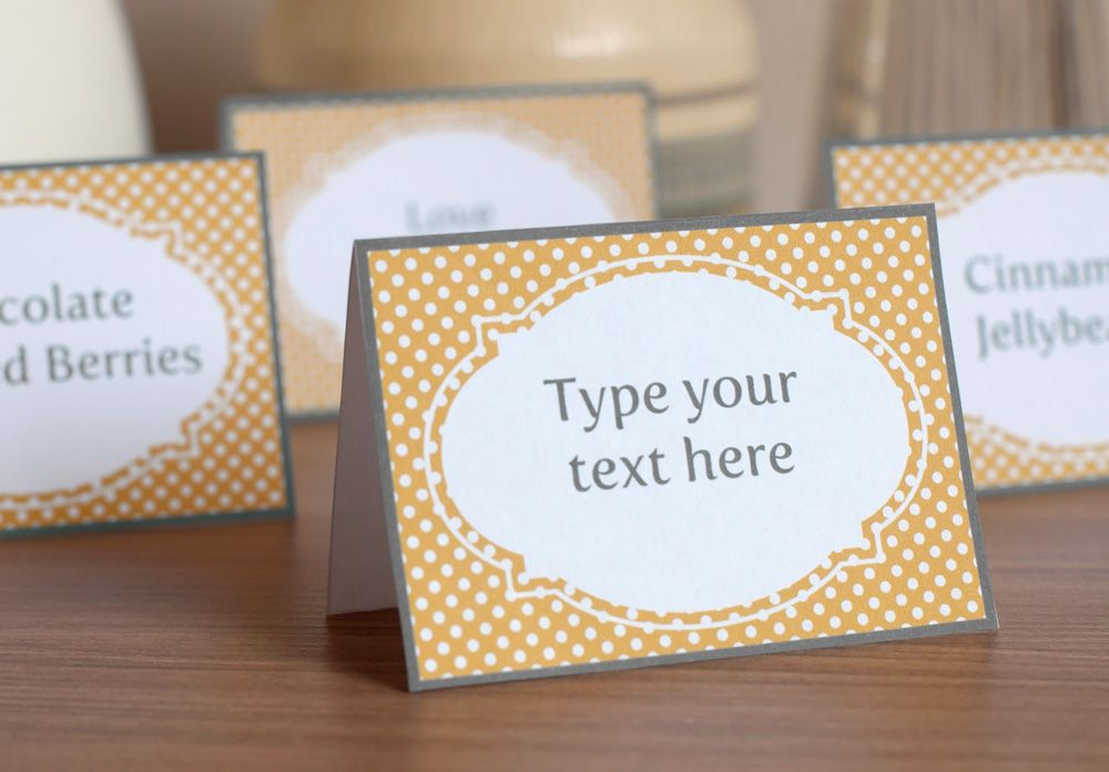 photograph regarding Free Printable Tent Cards Templates known as Printable Yellow and Grey Sweet Buffet Labels and Tent Playing cards