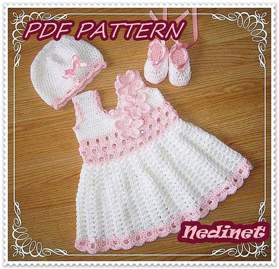 Häkelmuster Baby Kleid Kleid Set Häkelanleitung von NedinetPattern ...