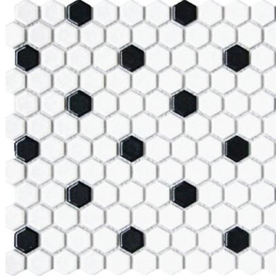 Tile 1x1 Hexagon White Black Matte Mosaic Bathroom Floor Tiles Hexagonal Mosaic Porcelain Mosaic Tile