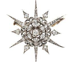 Victorian Diamond Star Brooch - The Three Graces