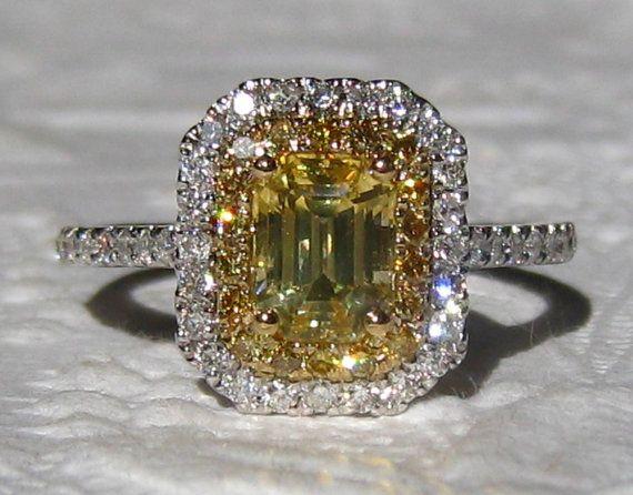 Ring Canary Yellow Ceylon Sapphire Diamond Halo Engagement