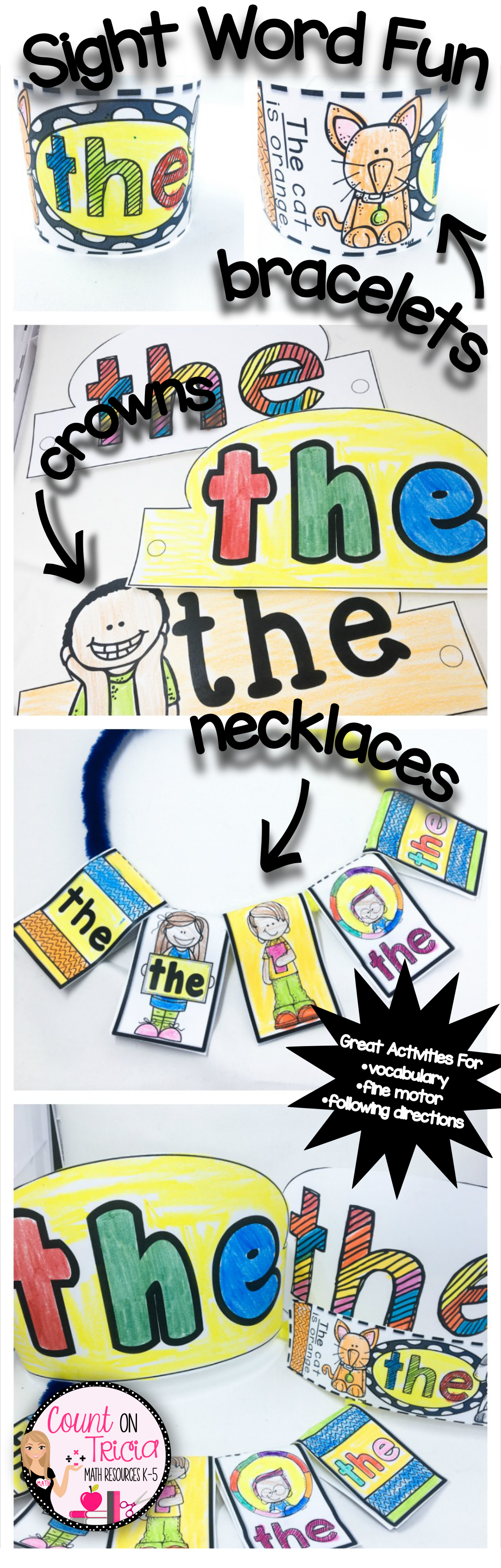 Sight Word Fun Create Sight Word Headbands Necklaces And Bracelets For Beginning Readers