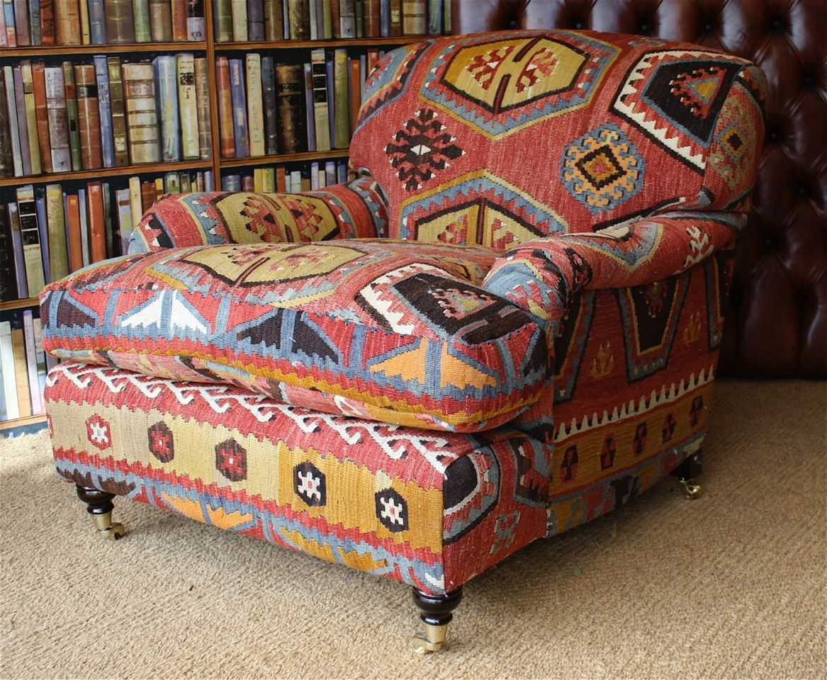 Unusual Colours Bold Design In This Kilim Leather Chair Furniture Comfortable Furniture