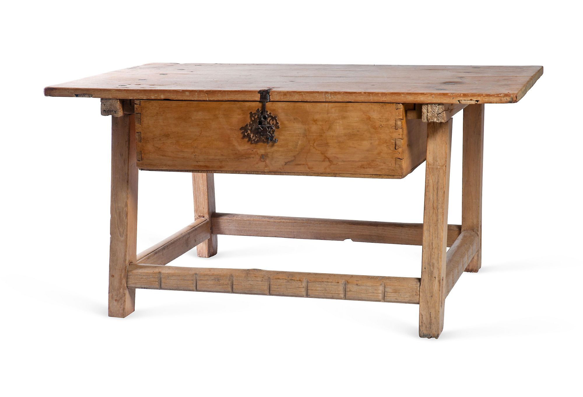 Late 18th Century Mexican Sabino Wood Hacienda Table With Top Made From A  Single Piece Of Sabino Wood. Splayed Legs With Exposed Mortise And Tenon  Joinery, ...