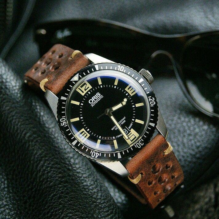 oris 65 diver on a chestnut vintage strap oris pinterest