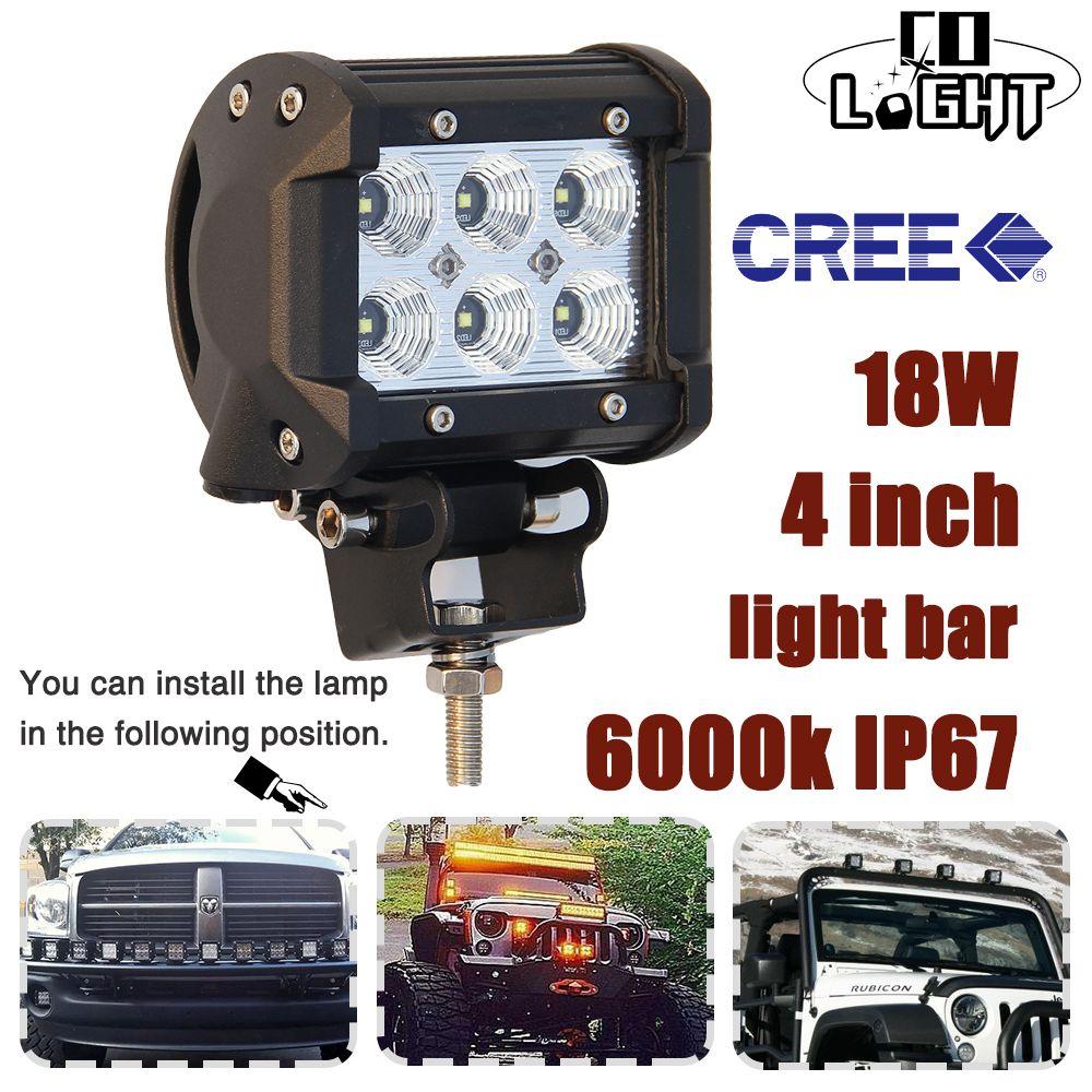 CO LIGHT 2 PCS 4 INCH 18W LED Work Light 4\'\' Pod Light Bar Spot ...